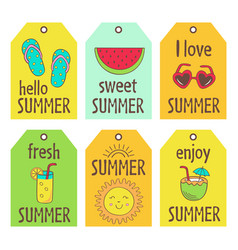 set summer tags vector image