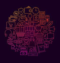 shopping line icon circle concept vector image