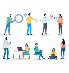 social network collection flat cartoon vector image