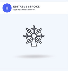 steering wheel icon filled flat sign vector image