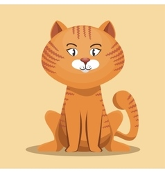 striped cat cartoon design vector image