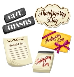thanksgiving day set object decoration vector image