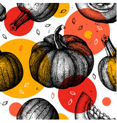 trendy seamless pattern with hand drawn pumpkins vector image
