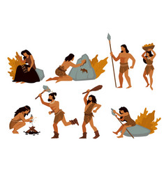 Tribal people gatherers and hunters prehistoric vector