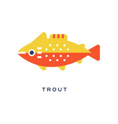 Trout freshwater fish geometric flat style design vector