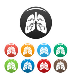 tuberculosis lungs icons set color vector image