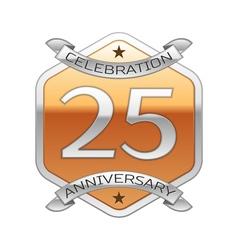 Twenty five years anniversary celebration silver vector