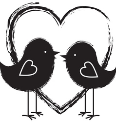 Two birds in heart vector