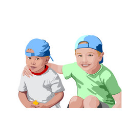 Two blonde boys in blue caps and t-shirts smiling vector