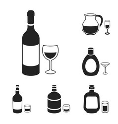 types of alcohol black icons in set collection for vector image