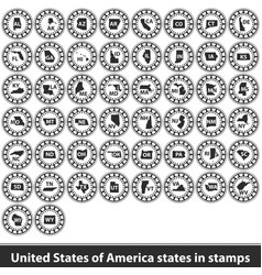 United states of america states in stamps vector
