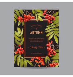 Vintage floral frame - autumn rowan berries vector