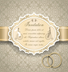 Vintage wedding invitation 6 vector image