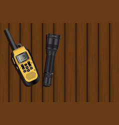 walkie-talkie and a lantern vector image