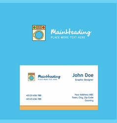 washing machine logo design with business card vector image