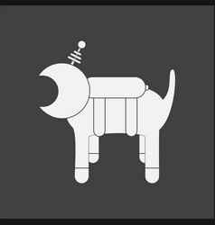 White icon on black background space dog vector