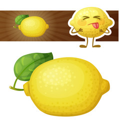 whole lemon fruit cartoon vector image