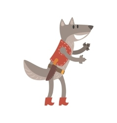 Wolf In Leather Vest With Knife Forest Animal vector image