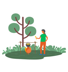 woman cooking in pot on fire outdoors in forest vector image