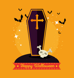 wooden coffin with a cross happy halloween vector image