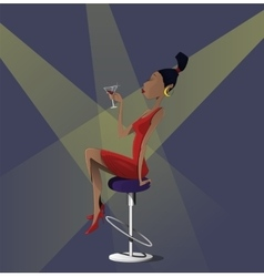 Young cartoon woman with glass of martini in a vector image