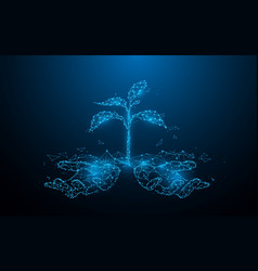Young plant in hands from lines and particle style vector