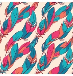 Colorful seamless pattern with feathers vector image vector image