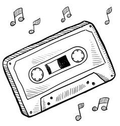 doodle cassette tape vector image