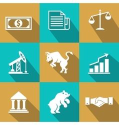 financial icons in trendy flat style vector image vector image