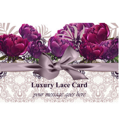 lace card with peony flowers luxury vector image vector image