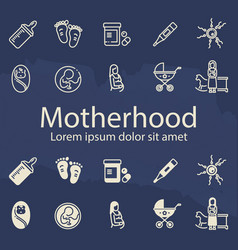 motherhood thin line and outline icons set vector image vector image