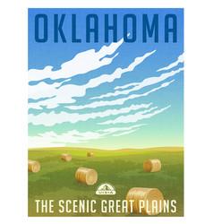 Oklahoma united states retro travel poster vector