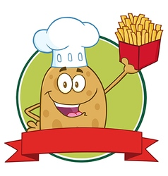 Potato Chef Holding Fries Banner vector image