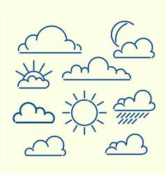 cloud sun moon rain loutlined icon set meteo vector image vector image