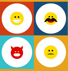 flat icon emoji set of cheerful displeased grin vector image