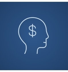 Head with dollar symbol line icon vector image