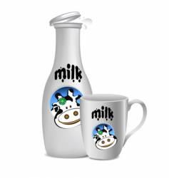 milk bottle and mug vector image