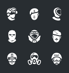 set of military forces icons vector image vector image