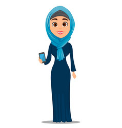 arabic woman holding smartphone cute vector image