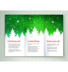 Christmas white and green leaflet design vector image vector image