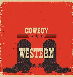 Cowboy boots background red card with text vector image vector image