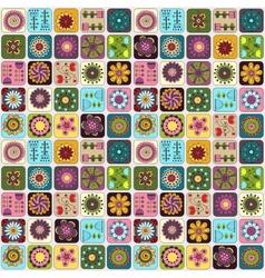Seamless pattern Sampler doodle flowers leaves vector image vector image
