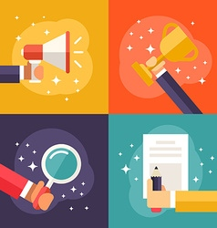Set of Flat Business Promotion Winner Searching vector image