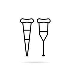 simple black thin line crutch icon vector image vector image