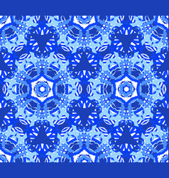 blue starry flower kaleidoscope background vector image vector image
