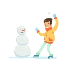 Boy Playing Snowballs Nest To Snowman Traditional vector image vector image
