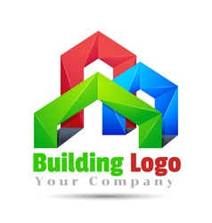 Commercial building Volume Logo Colorful 3d Design vector image