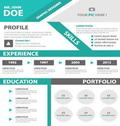 Green smart creative resume business profile cv vector
