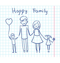 happy family sketch vector image