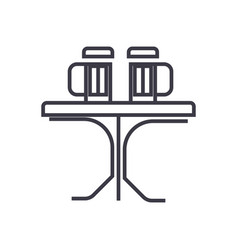 table with beer pub line icon sign vector image vector image